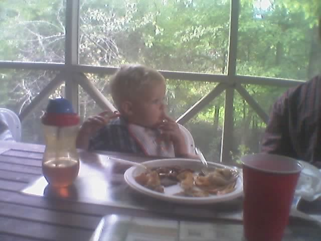 Ethan eating at aunt trisha's rehersal