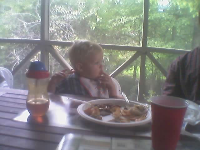 Ethan eating at aunt trisha's rehersal